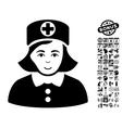 Nurse Flat Icon With Bonus vector image