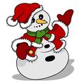 Snowman Santa Claus vector image vector image