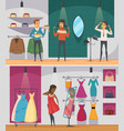 trying shop flat people composition set vector image