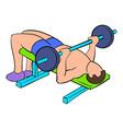men training on the bench press icon cartoon vector image