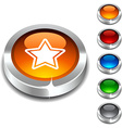 Star 3d button vector image