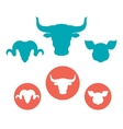 Set of farm animals heads flat icons vector image