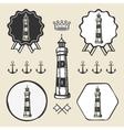 vintage lighthouse symbol emblem label collection vector image