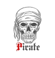 Pirate sailor skull in bandana sketch symbol vector image vector image