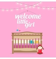 Baby girl room with bed and words vector image