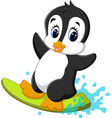 cute penguin surfing cartoon vector image
