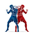 muay thai thai boxing standing action vector image