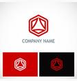 polygon triangle technology logo vector image