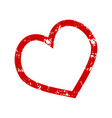 stamp heart to valentine day stroke texture vector image