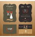 Animal bride and groom cartoon wedding invitation vector image