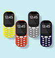 colorful mobile phones set isolated on background vector image
