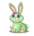 Cute green bunny with flowers and blue eyes vector image