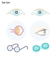 Eye Care with Glasses and Contact Lenses vector image