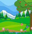 Nature scene with apple tree and field vector image