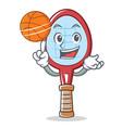 tennis racket character cartoon with basketball vector image