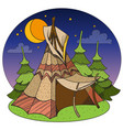 tepee traditional accommodation forest indians vector image