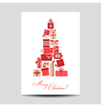 Vintage Christmas Card - Christmas Tree from Gifts vector image