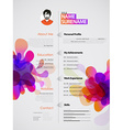 Creative color rich CV resume template with vector image