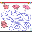 path maze game with pigs vector image vector image