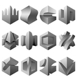 abstract 3D objects set vector image