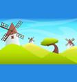 summer landscape windmill vector image