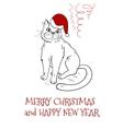 Christmas postcard design with santa cat vector image