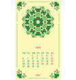 template calendar 2016 for month June vector image