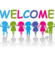 Cartoon Silhouette Children Welcome vector image