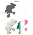Zacatecas blank outline map set vector image