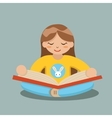 Young Girl Reading Book Sitting on Floor vector image