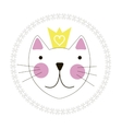 Cute Hand Drawn Cat with Crown Background vector image