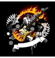Black background with a guitar vector image