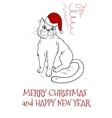 Christmas postcard design with santa cat vector image