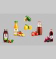 digital realistic fruit juice glass bottles vector image