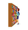 girl is take books in library choosing necessary vector image