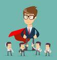sketch of working little people and big superhero vector image