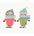 Children in Winter Cloth vector image