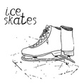 Hand drawn sketch ice skates Drawing Sport doodle vector image