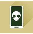 Flat web icon with long shadow mobile virus vector image
