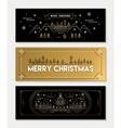 Gold line art Christmas banner template set vector image