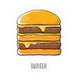cartoon burger with cheese meat and salad vector image