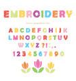 Embroidery colorful font design isolated on white vector image