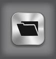 Folder icon - metal app button vector image