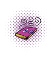 Magic book icon comics style vector image