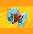 santa claus angel wings christmas gifts vector image