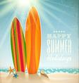 Surfboards on a beach against a sunny seascape vector image