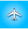 White plane flying over blue sky vector image