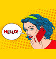 young pretty woman is talking by the phone vector image
