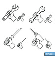 Hand tools icon set white background vector image