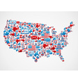 USA elections icons map vector image